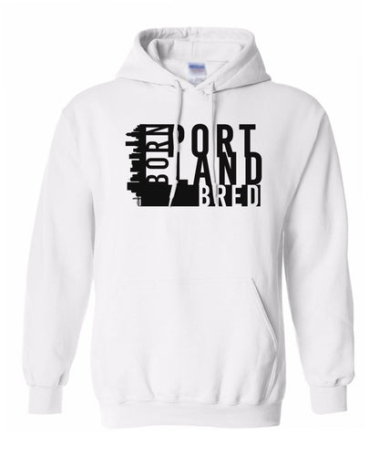 white Portland born and bred hoodie