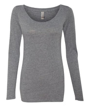 Load image into Gallery viewer, grey women's long sleeve scoop t shirt