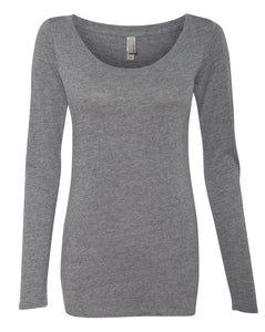grey women's long sleeve scoop t shirt