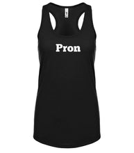 Load image into Gallery viewer, black PRON racerback tank top for women