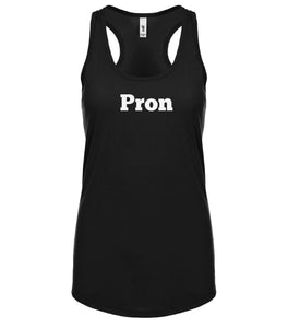 black PRON racerback tank top for women