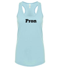 Load image into Gallery viewer, blue PRON racerback tank top for women