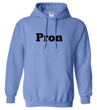 Load image into Gallery viewer, blue PRON hooded sweatshirt for women