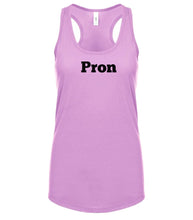 Load image into Gallery viewer, pink PRON racerback tank top for women