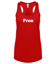 Load image into Gallery viewer, red PRON racerback tank top for women