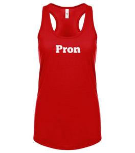 red PRON racerback tank top for women