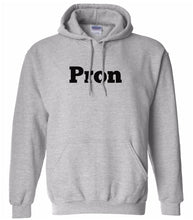 Load image into Gallery viewer, grey PRON hooded sweatshirt for women