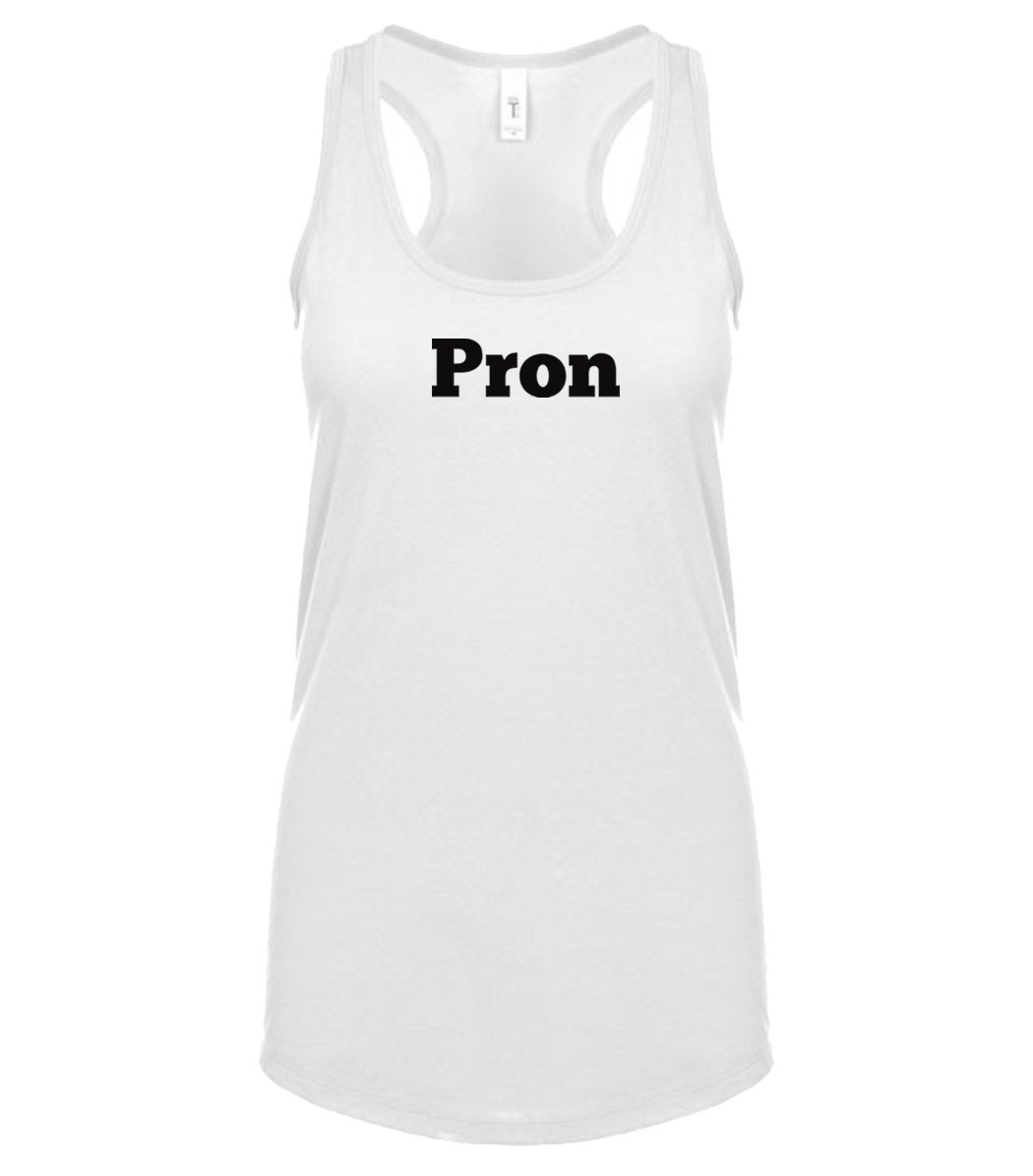 white PRON racerback tank top for women