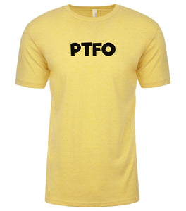 yellow ptfo mens crewneck t shirt