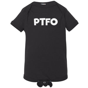 black PTFO onesie for babies