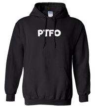 Load image into Gallery viewer, black PTFO hooded sweatshirt for women