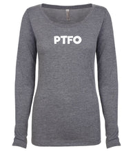 Load image into Gallery viewer, grey PTFO long sleeve scoop shirt for women