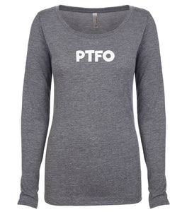 grey PTFO long sleeve scoop shirt for women