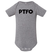 Load image into Gallery viewer, grey PTFO onesie for babies