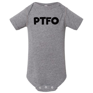 grey PTFO onesie for babies