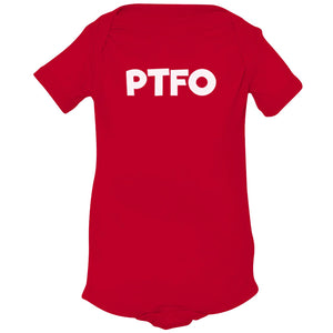 red PTFO onesie for babies