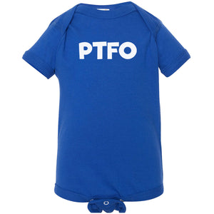 blue PTFO onesie for babies