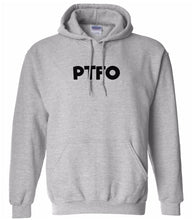 Load image into Gallery viewer, grey PTFO hooded sweatshirt for women
