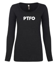 Load image into Gallery viewer, black PTFO long sleeve scoop shirt for women