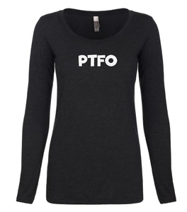 black PTFO long sleeve scoop shirt for women