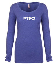 Load image into Gallery viewer, blue PTFO long sleeve scoop shirt for women