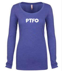 blue PTFO long sleeve scoop shirt for women