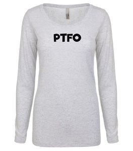 white PTFO long sleeve scoop shirt for women