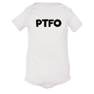 white PTFO onesie for babies