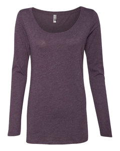 purple women's long sleeve scoop t shirt