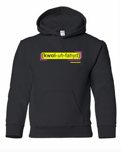 florescent yellow qualified youth kids neon streetwear hooded sweatshirt