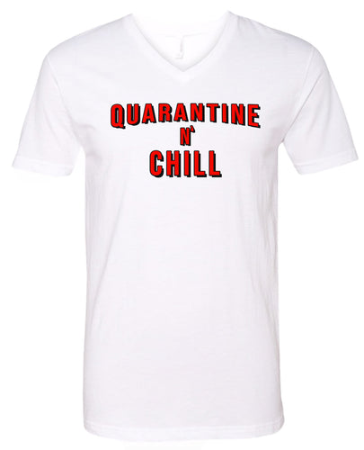 quarantine and chill v-neck t-shirt