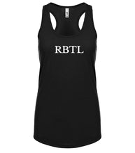 Load image into Gallery viewer, black RBTL racerback tank top for women