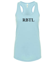 Load image into Gallery viewer, blue RBTL racerback tank top for women