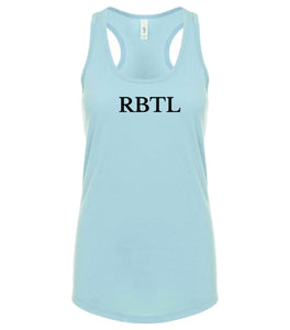 blue RBTL racerback tank top for women