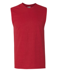 red men's sleeveless t-shirt