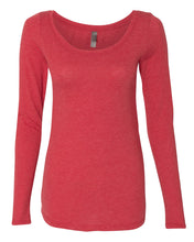 Load image into Gallery viewer, red women's long sleeve scoop t shirt