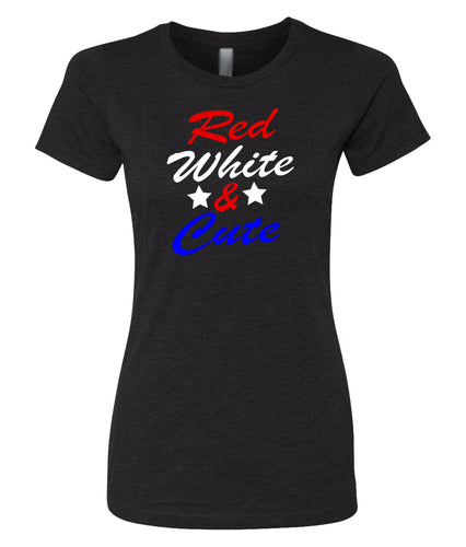 red white and cute women's t-shirt