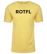Load image into Gallery viewer, yellow rotfl mens crewneck t shirt