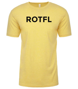 yellow rotfl mens crewneck t shirt