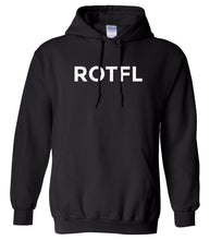 Load image into Gallery viewer, black ROTFL hooded sweatshirt for women