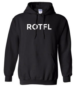 black ROTFL hooded sweatshirt for women