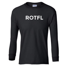 Load image into Gallery viewer, black ROTFL youth long sleeve t shirt for boys