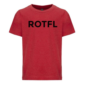 red ROTFL youth crewneck t shirt for boys
