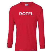 Load image into Gallery viewer, red ROTFL youth long sleeve t shirt for boys