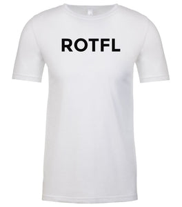 white rotfl mens crewneck t shirt
