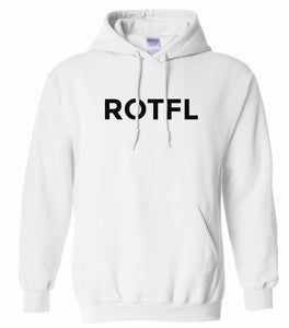 white ROTFL hooded sweatshirt for women