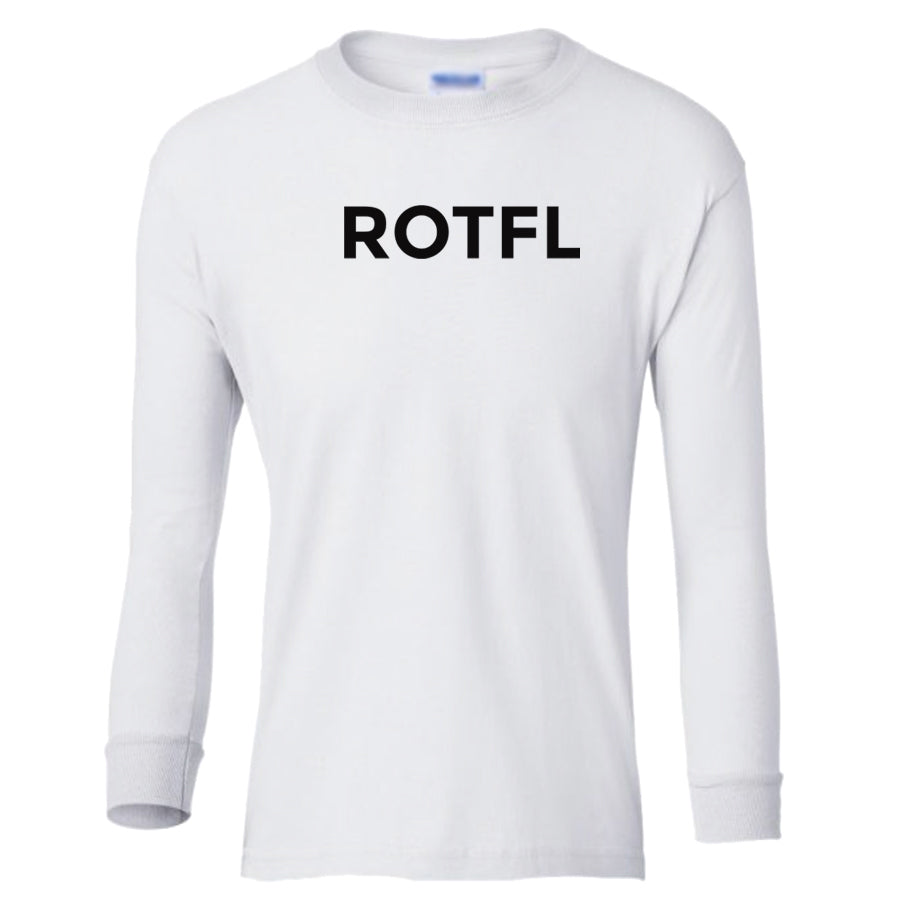 white ROTFL youth long sleeve t shirt for boys