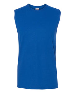 royal blue men's sleeveless t-shirt