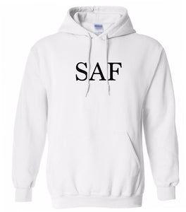 white saf mens pullover hoodie