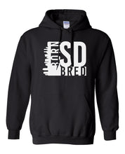 Load image into Gallery viewer, black San Diego born and bred hoodie